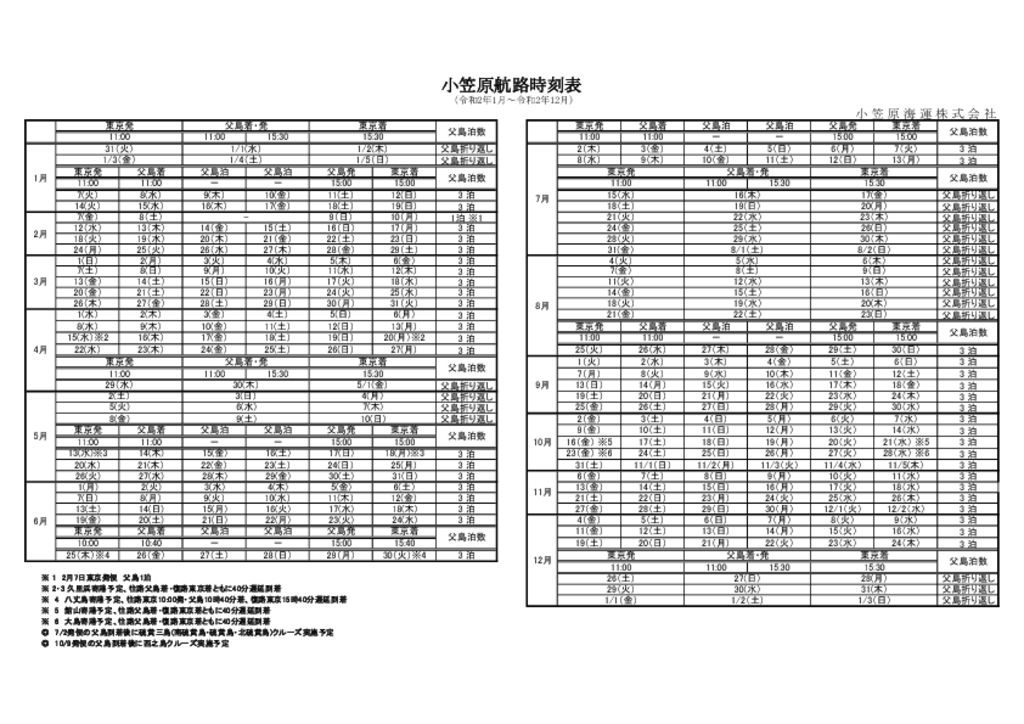 おがさわら丸時刻表(R2.1~R2.12)のサムネイル